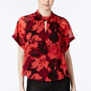 Rachel Roy Red Floral Blouse, XXL